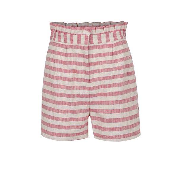 Pantaloni scurti roz&crem in dungi cu volane VERO MODA Laura
