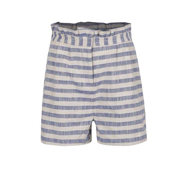 Pantaloni scurti albastru&crem in dungi cu volane VERO MODA Laura