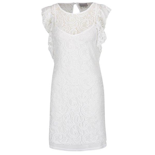Rochie albă midi VERO MODA Thea din dantelă de la VERO MODA in categoria rochii de seară