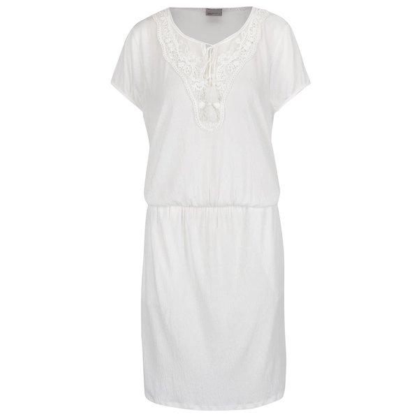 Rochie midi crem VERO MODA Matea cu detaliu din dantelă și macrame de la VERO MODA in categoria rochii casual
