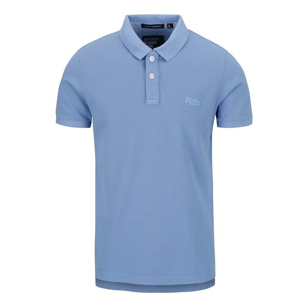 Tricou polo albastru deschis Superdry din bumbac cu logo de la Superdry in categoria tricouri polo