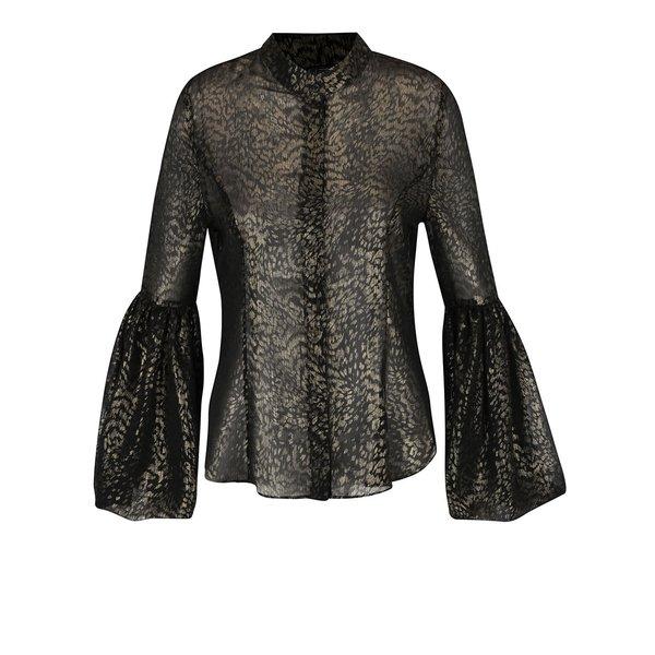 Bluză neagră semitransparentă Idol Ray cu animal print auriu și mâneci clopot de la Idol Ray in categoria Topuri, tricouri, body-uri