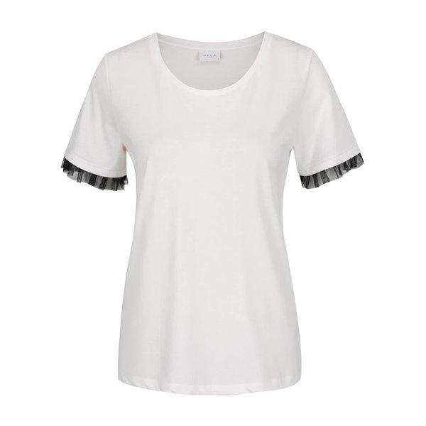 Bluză crem VILA Dreamers cu volane din tulle pe mâneci de la VILA in categoria tricouri