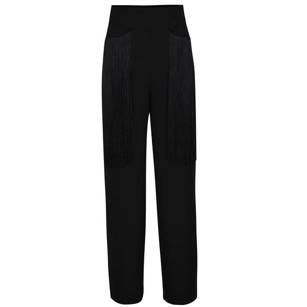 Pantaloni negri Idol Ray cu talie înaltă și franjuri