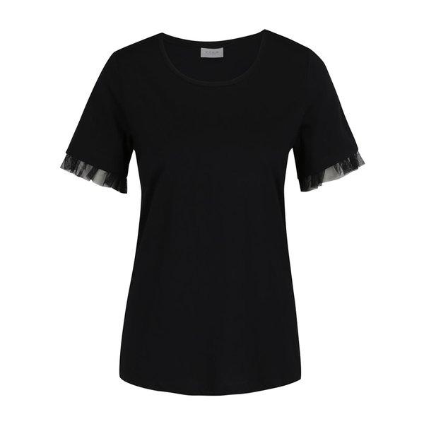 Bluză neagră VILA Dreamers cu volane din tulle pe mâneci de la VILA in categoria tricouri