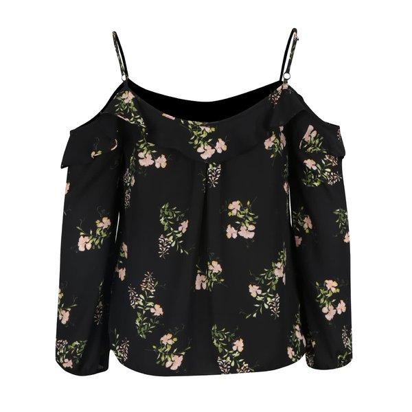 Bluza neagra cu print floral si decolteu pe umer - Dorothy Perkins