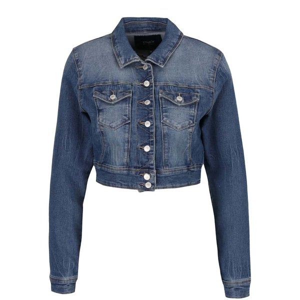 Jachetă crop albastră din denim ONLY New de la ONLY in categoria Geci, jachete și sacouri