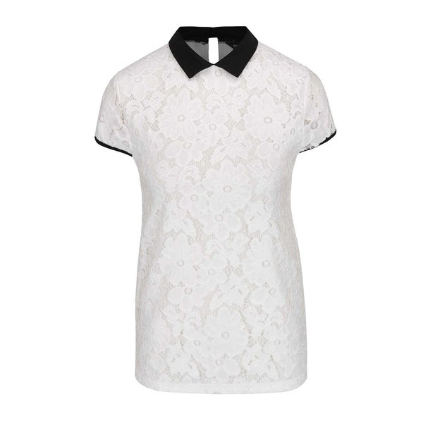 Bluza crem din dantela cu guler negru - Dorothy Perkins