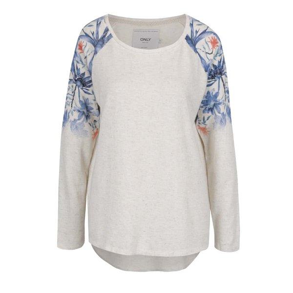 Bluză crem ONLY Dazzy cu imprimeu floral pe mâneci și tiv asimetric