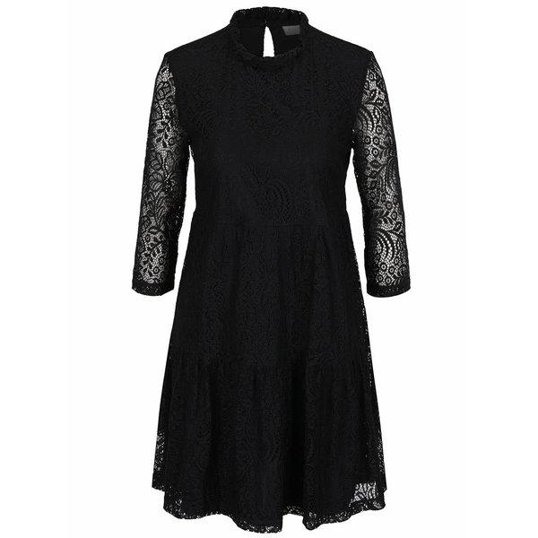 Rochie neagră VILA Mola din dantelă cu croi lejer de la VILA in categoria rochii de seară