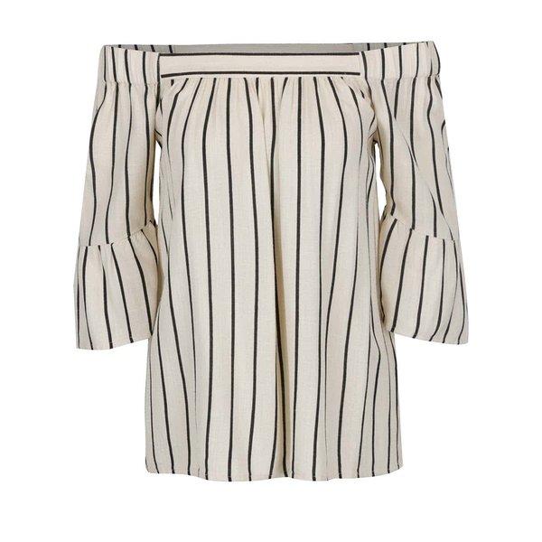 Bluză crem VILA Lopex cu umerii goi, model în dungi și mâneci fluture trei sferturi