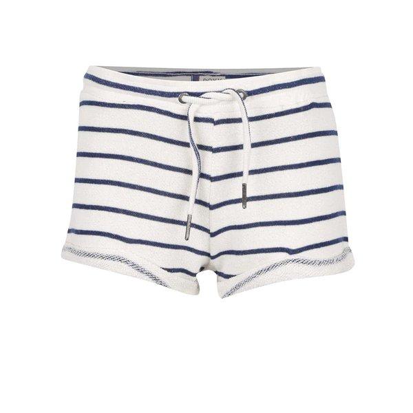 Pantaloni scurți Roxy Signature crem cu albastru de la Roxy in categoria Blugi, pantaloni, colanți