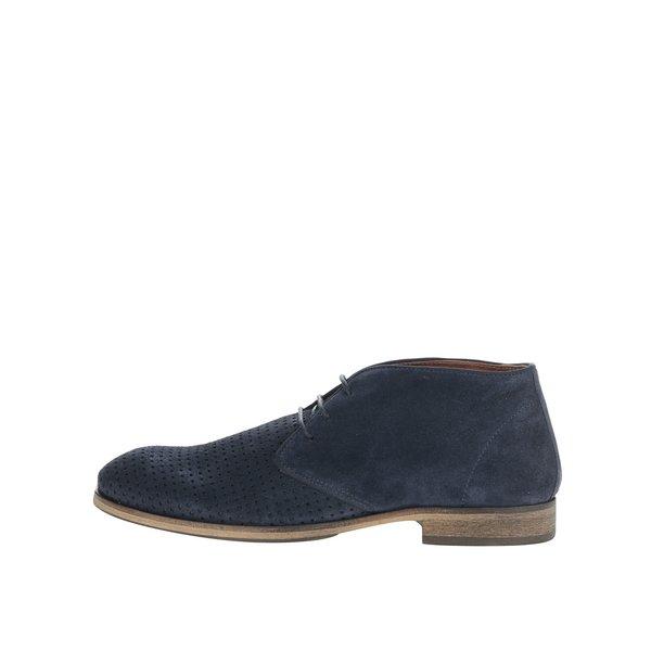 Pantofi albastru închis Selected Homme Bolton din piele întoarsă cu model cu perforații de la Selected Homme in categoria pantofi și mocasini