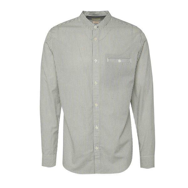 Cămașă crem & albastru deschis Selected Homme One Morton din bumbac cu guler tunică și model în dungi