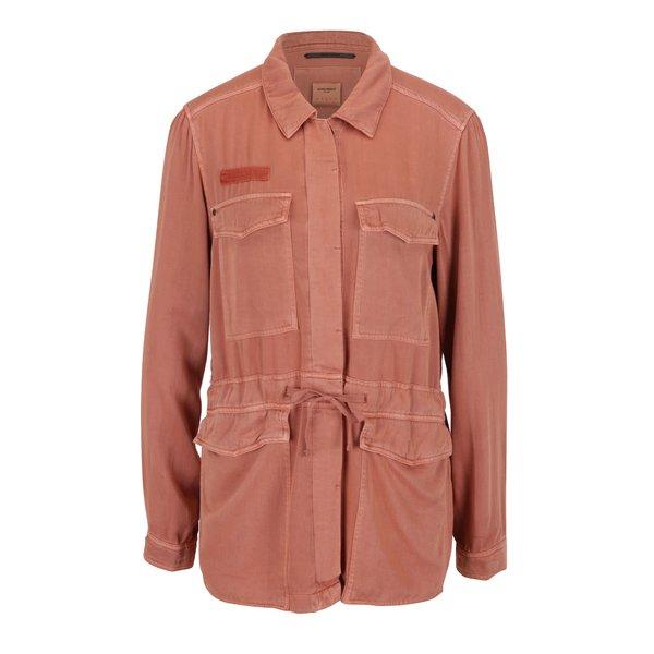 Jachetă caramizie din denim cu buzunare VERO MODA Ambre