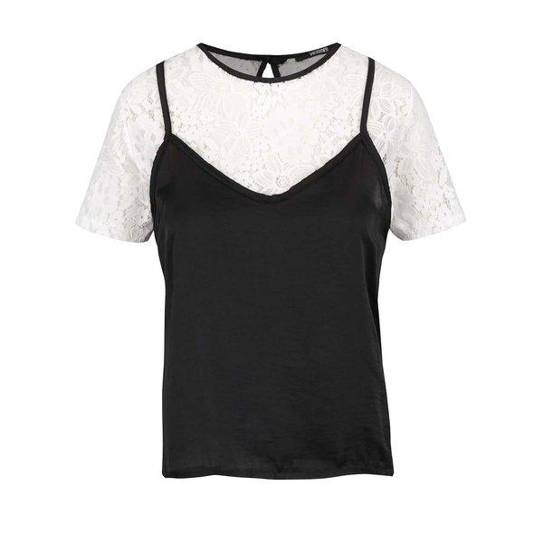 Bluza alba cu dantela si top negru & alb - Hailys Sare