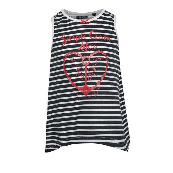 Top alb-negru cu model în dungi Blue Seven pentru fete