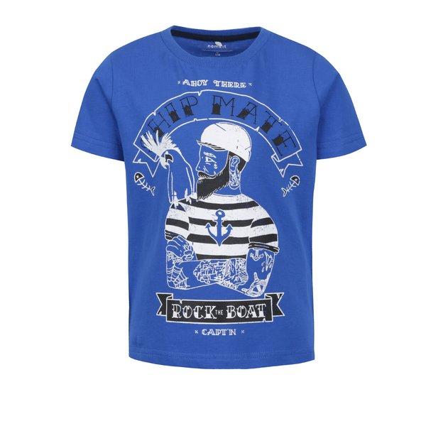 Tricou albastru name it Fang din bumbac cu print