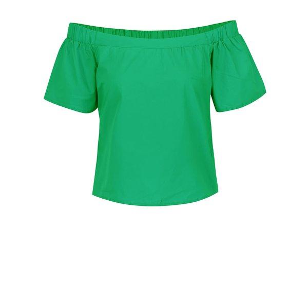 Top verde ONLY Pop-Popline cu decolteu pe umeri de la ONLY in categoria Topuri, tricouri, body-uri