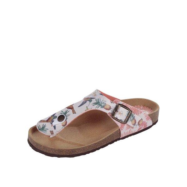 Papuci roz&crem Desigual Tropical cu talpă ortopedică de la Desigual in categoria șlapin