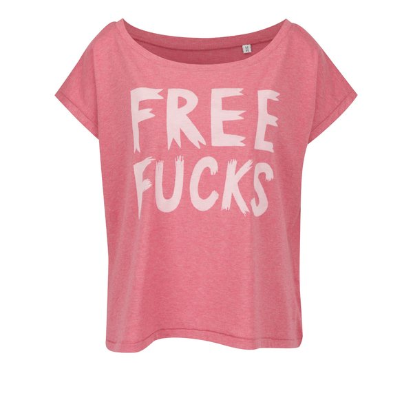 Tricou roz melanj supradimensionat ZOOT Original Free fucks din bumbac organic cu print