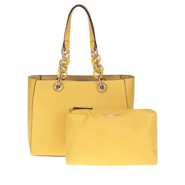 Geantă shopper galbenă ALDO Werlinger cu portfard