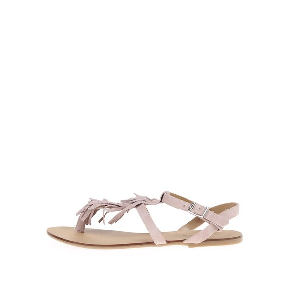 Sandale roz Pieces Berta din piele
