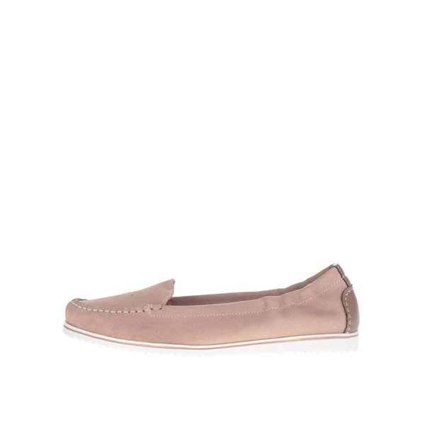 Pantofi loafer roz pal OJJU cu detalii în contrast