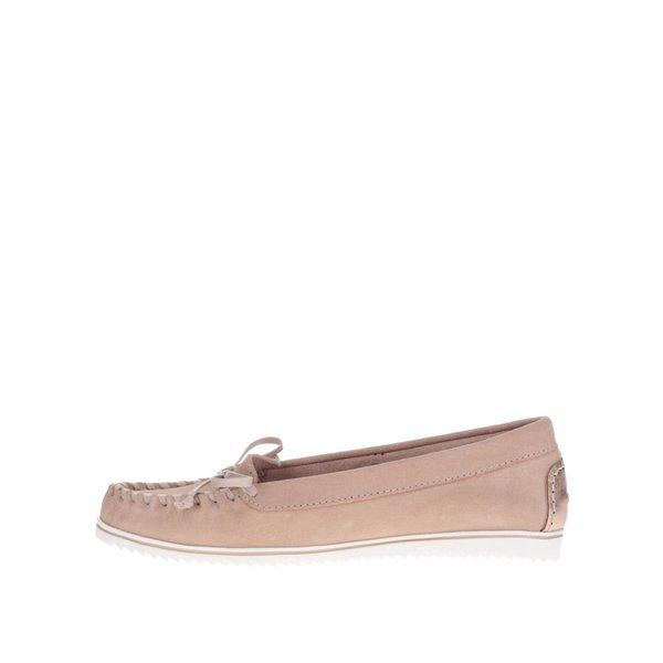 Mocasini roz OJJU din piele întoarsă cu detaliu de culoarea bronzului de la OJJU in categoria pantofi și mocasini