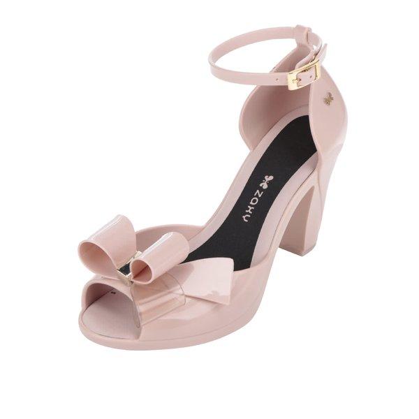 Pantofi roz peep-toe Zaxy cu fundiță