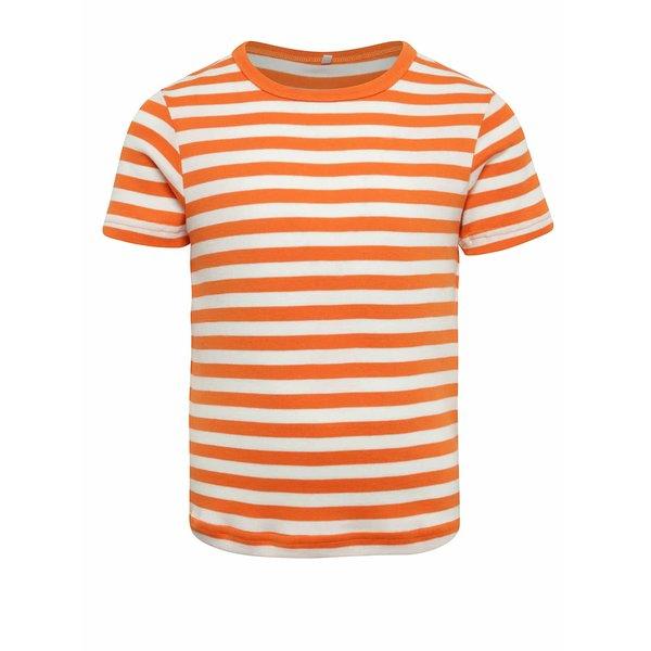 Tricou crem&portocaliu cu dungi Name It Villy
