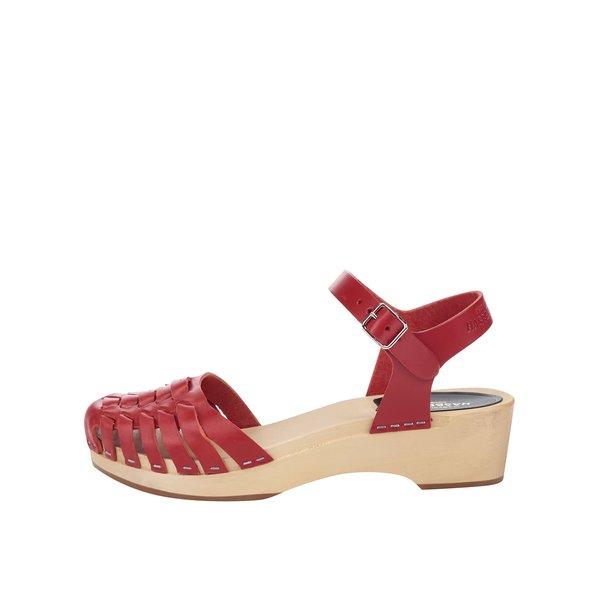 Sandale sabot roșii din piele Swedish Hasbeens Snake Debutant de la Swedish Hasbeens in categoria sandale