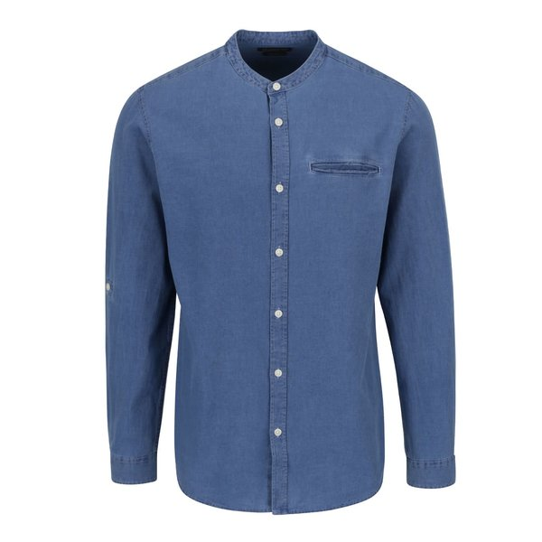 Cămașă albastră Jack & Jones Benny slim fit din denim cu guler tunică de la Jack & Jones in categoria Cămăși