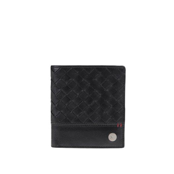 Portofel pliabil negru Dice Kearnes din piele cu model și logo de la Dice in categoria Rucsacuri, genți, portofele