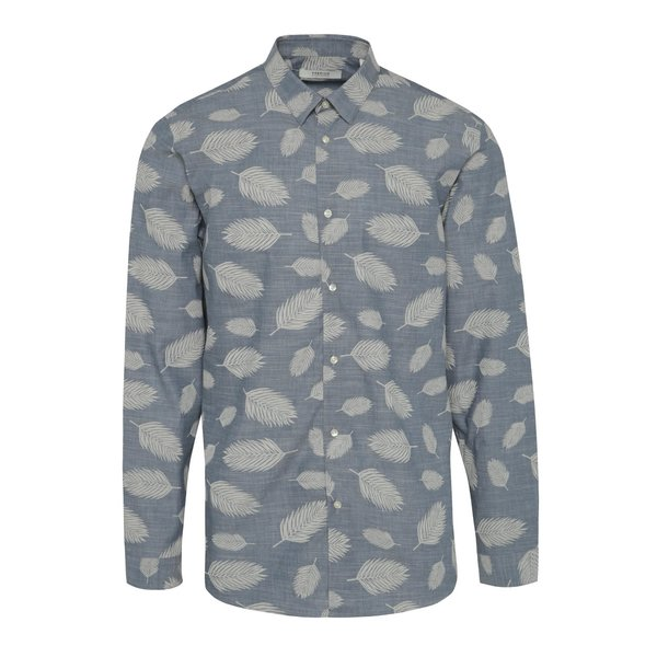 Cămașă albastră Jack & Jones Leaf slim fit din bumbac cu print de la Jack & Jones in categoria Cămăși