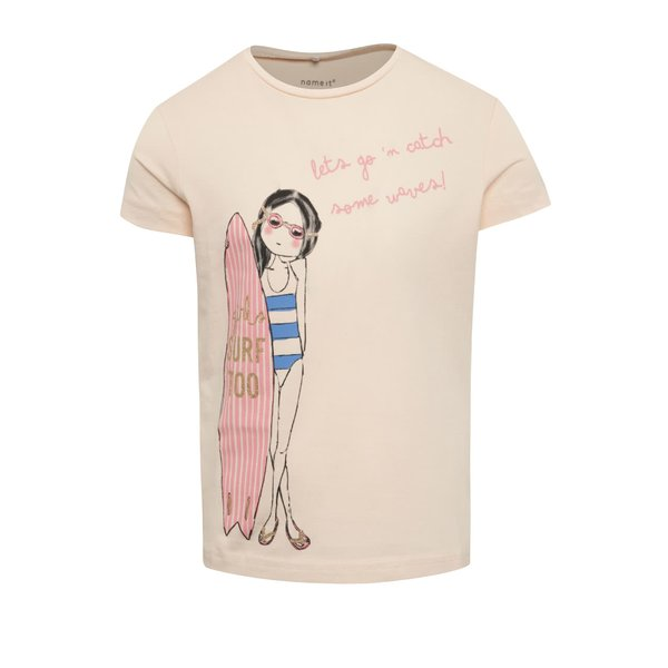 Tricou roz cu print Name It Jigirl pentru fete