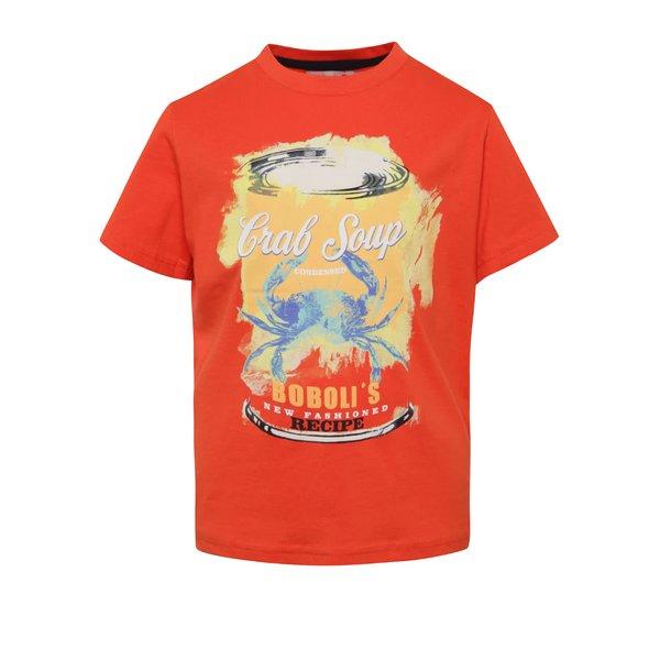 Tricou roșu cărămiziu Bóboli din bumbac cu print pentru băieți