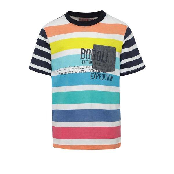Tricou albastru & alb Bóboli din bumbac cu model în dungi și print pentru băieți