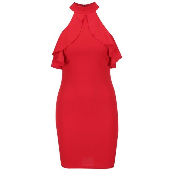 Rochie halter roșie Ax Paris cu volane decorative de la AX Paris in categoria rochii de seară