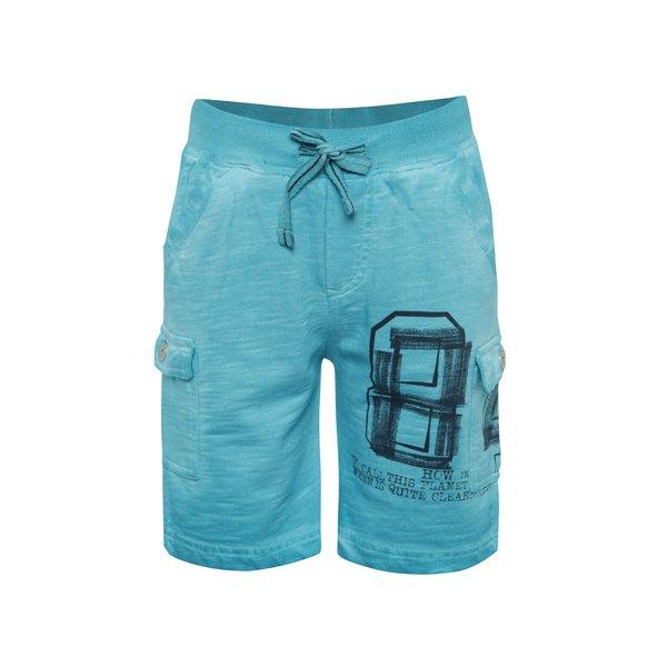Pantaloni sport scurți turcoaz Bóboli din bumbac cu print