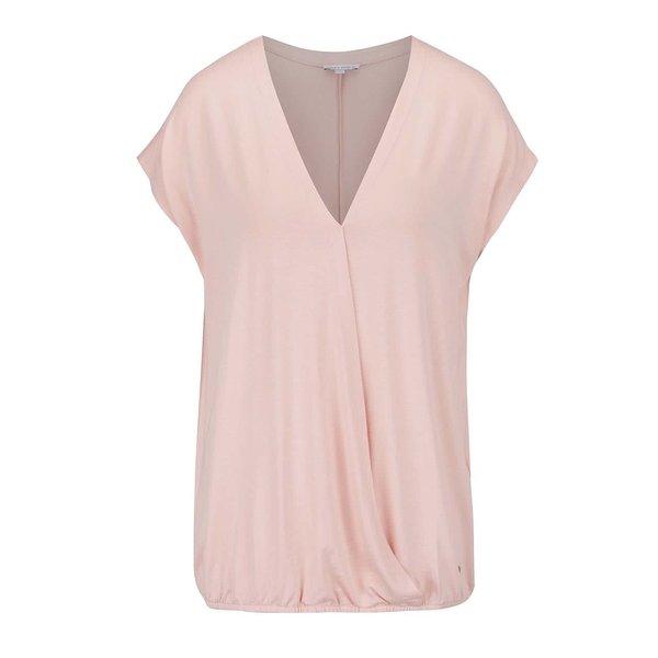 Bluză roz deschis cu croi parte peste parte Gina Laura