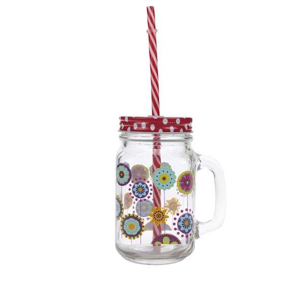 Cană cu flori, capac roșu cu buline și pai Dakls din sticlă de la Dakls in categoria Bucătăria