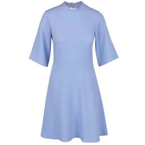 Rochie bleu cu decupaj la spate si maneci 3/4 clopot - Closet