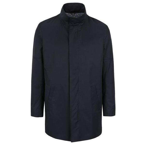 Jachetă lungă albastru închis Bertoni Allinge cu guler înalt