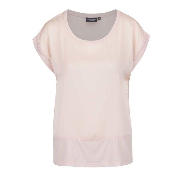 Tricou roz pal Broadway Delois cu aspect satinat
