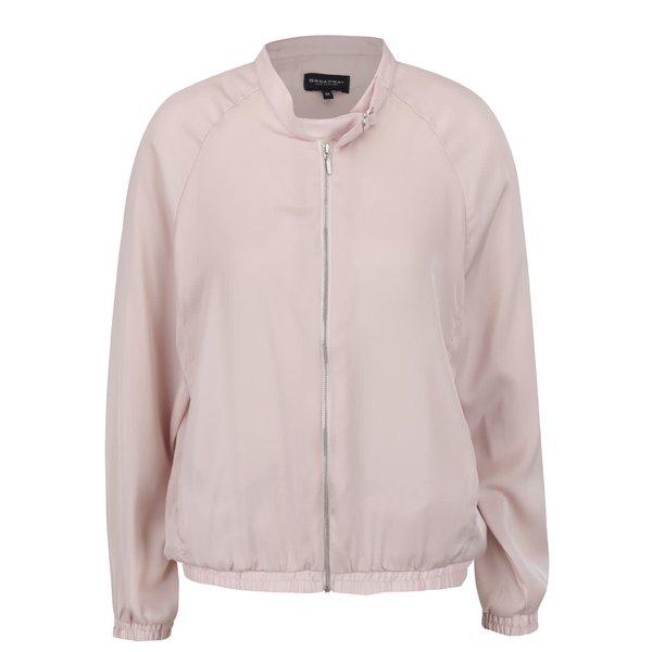Jachetă roz pal Broadway Devanya cu guler la baza gâtului