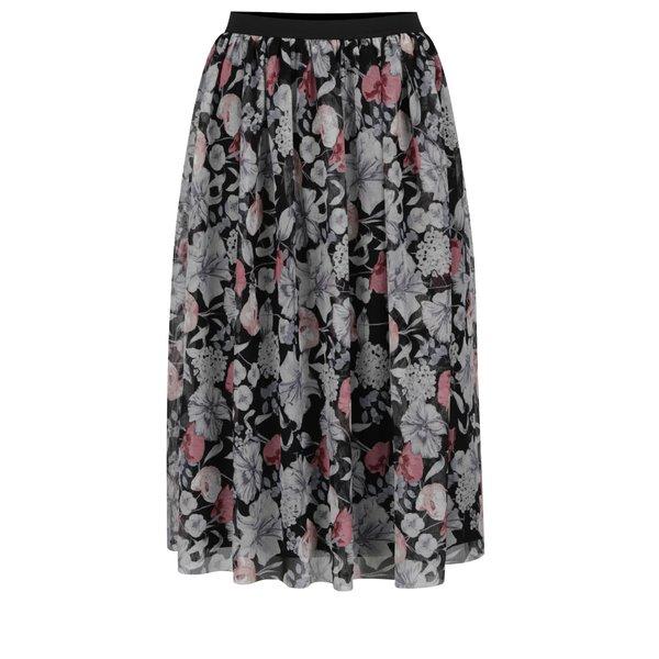 Fustă midi neagră cu imprimeu floral Miss Selfridge din tulle