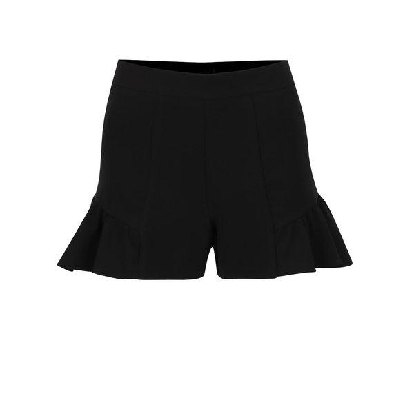 Pantaloni scurți negri Miss Selfridge cu volane decorative