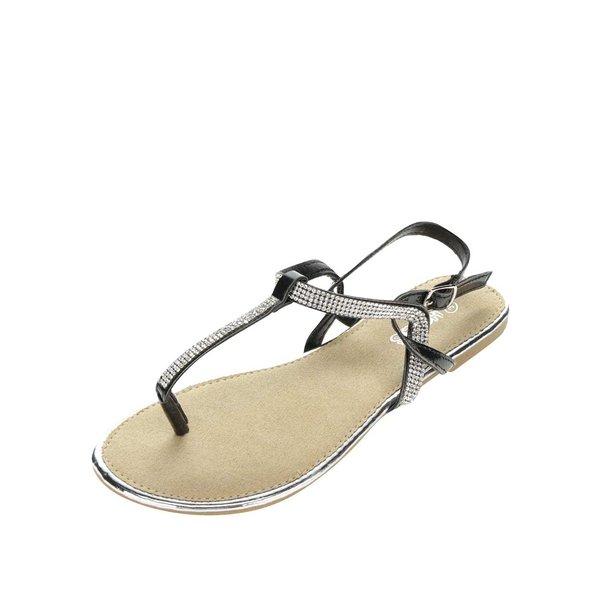 Sandale negre Haily's Sally cu detalii argintii de la Haily´s in categoria sandale
