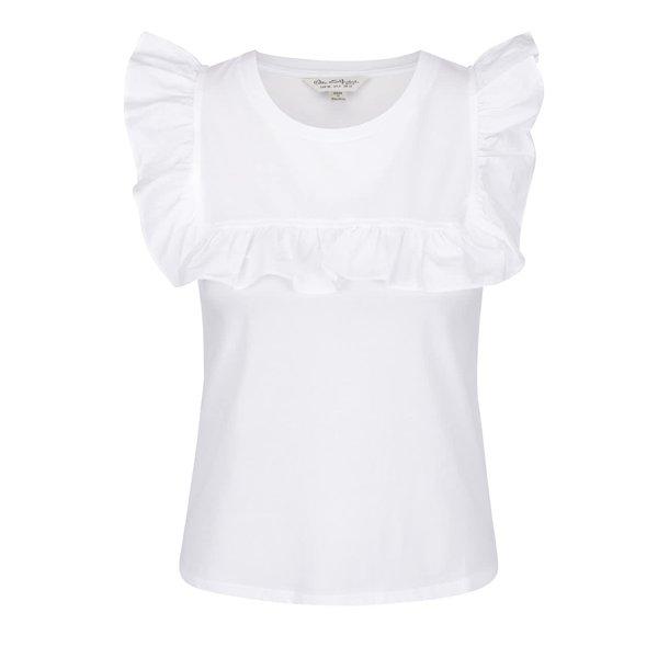 Tricou alb fildeș Miss Selfridge cu volănașe